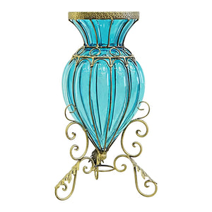 European Glass Floor Flower Vase With Metal Stand - Blue - Notbrand