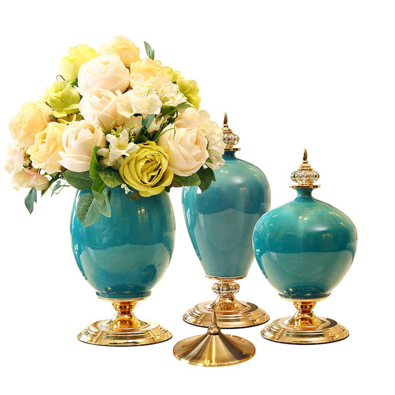 Set of 3 Green Ceramic Vases With Blue Flowers - Notbrand