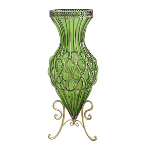 Green Glass Floor Vase With Metal Stand - 65cm - Notbrand
