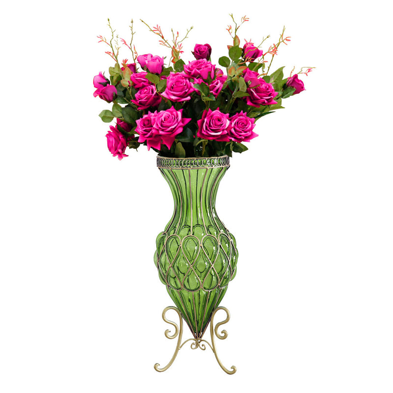 Set of Green Glass Floor Vase And 12Pcs Dark Pink Artificial Flower - Notbrand