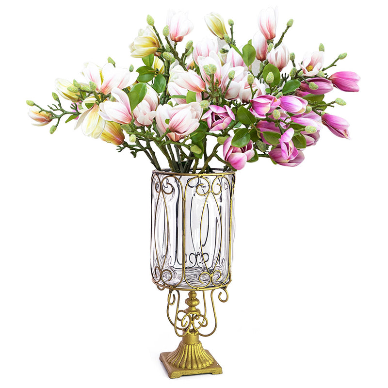 Glass Flower Vase With Artificial Silk Magnolia Denudata Set - Clear - Notbrand