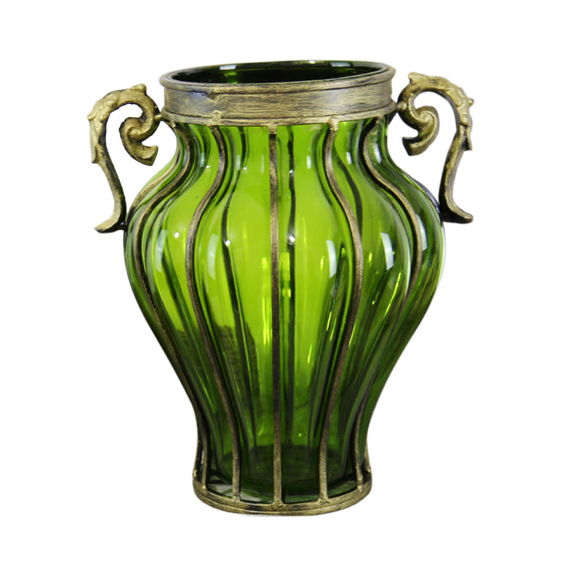 European Glass Amphora Flower Vase With Two Metal Handle - Green - Notbrand