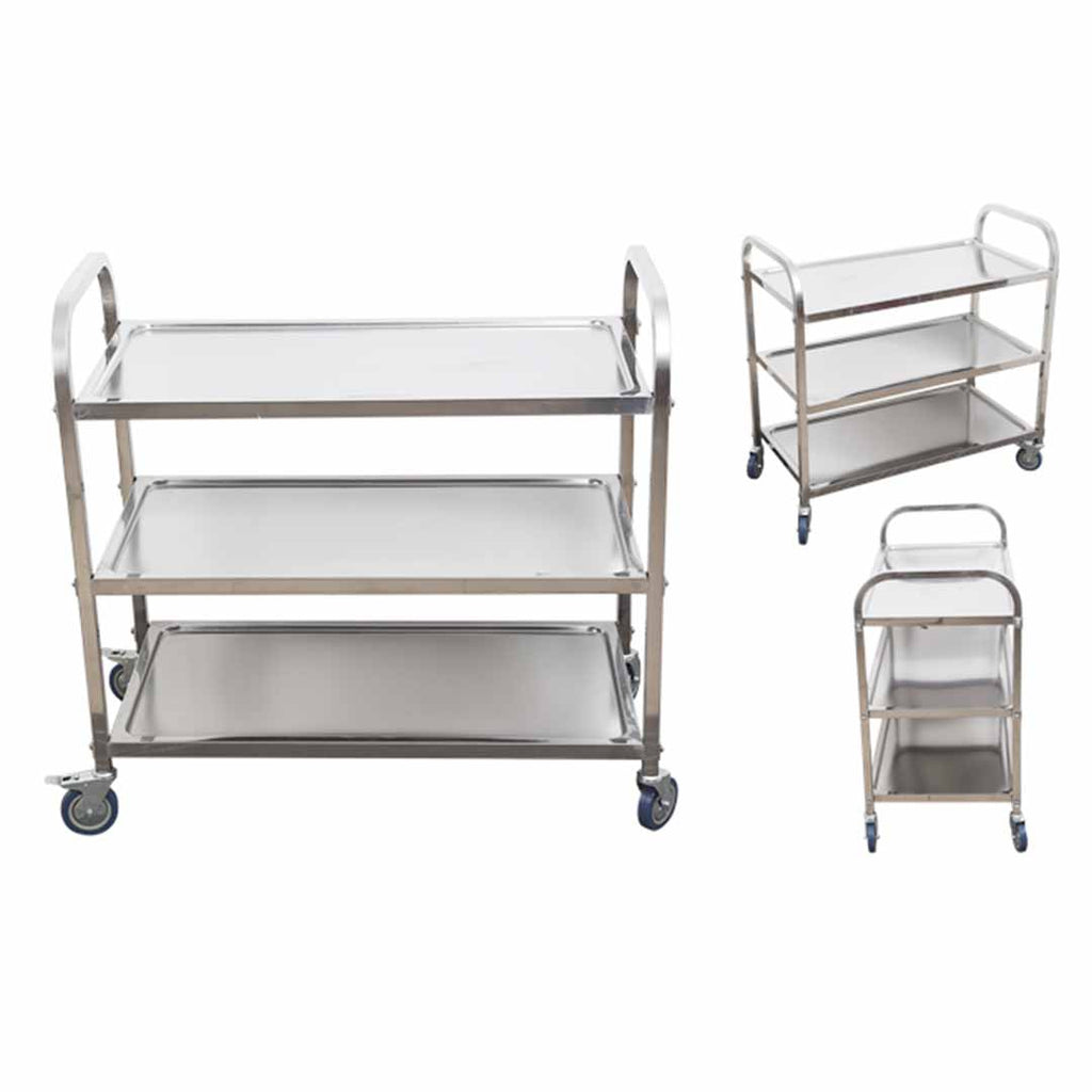Stainless Steel Round Utility Cart Small - 3 Tier - Notbrand