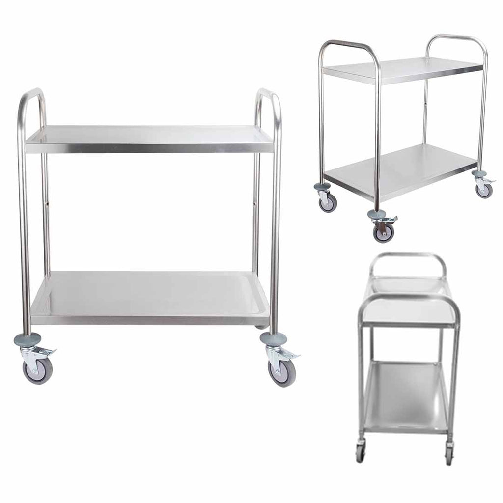Stainless Steel Round Utility Cart Small - 2 Tier - Notbrand