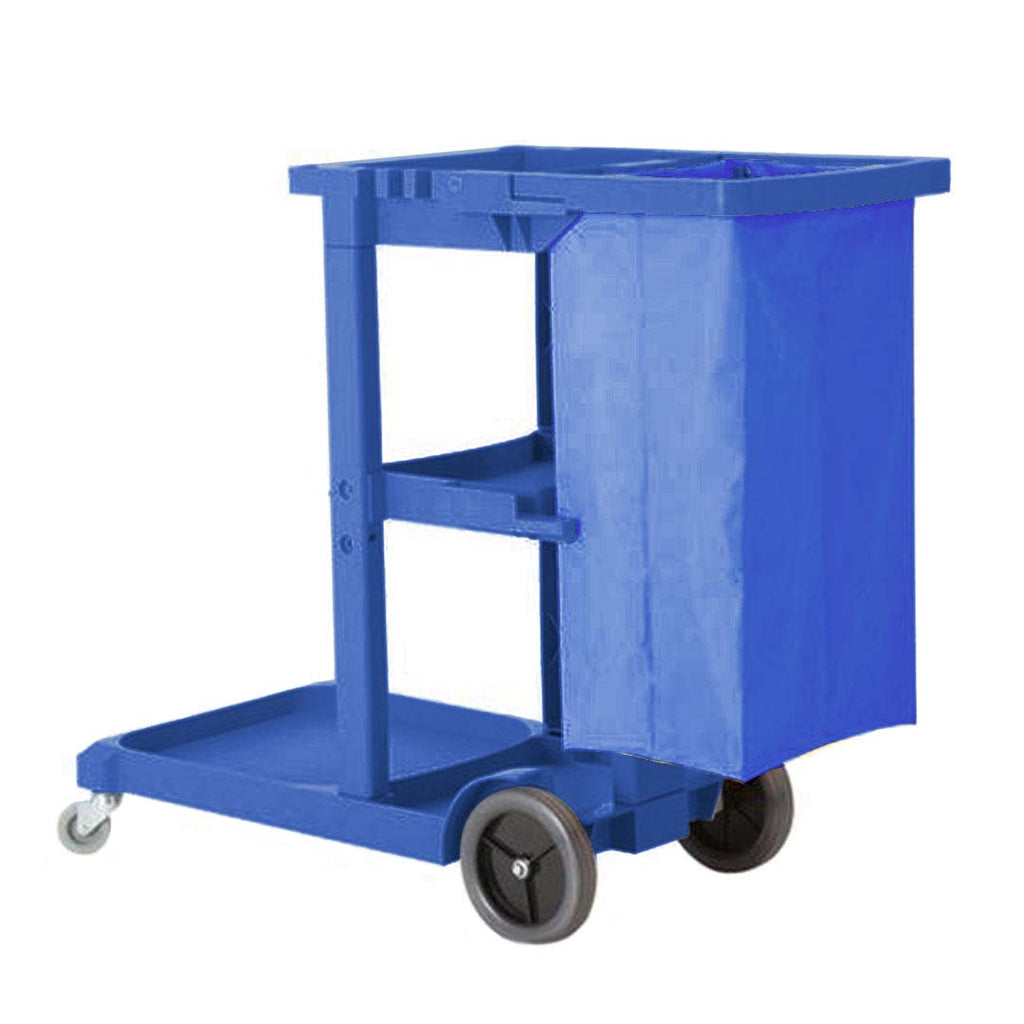 3 Tier Multifunction Janitor Cart & Bag - Blue