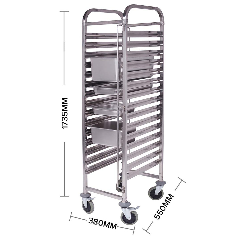 Gastronorm Trolley Stainless Steel Suits Gn 1/1 Pans - 16 Tier - Notbrand