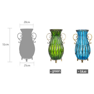 Set of Blue Glass Floor Vase With 12Pcs Artificial Flower - Notbrand