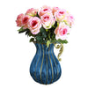European Glass Flower Vase With Metal Handle - Blue - Notbrand