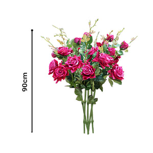 Rose Pink Artificial Flowers - 8 Bunch 5 Heads - Notbrand