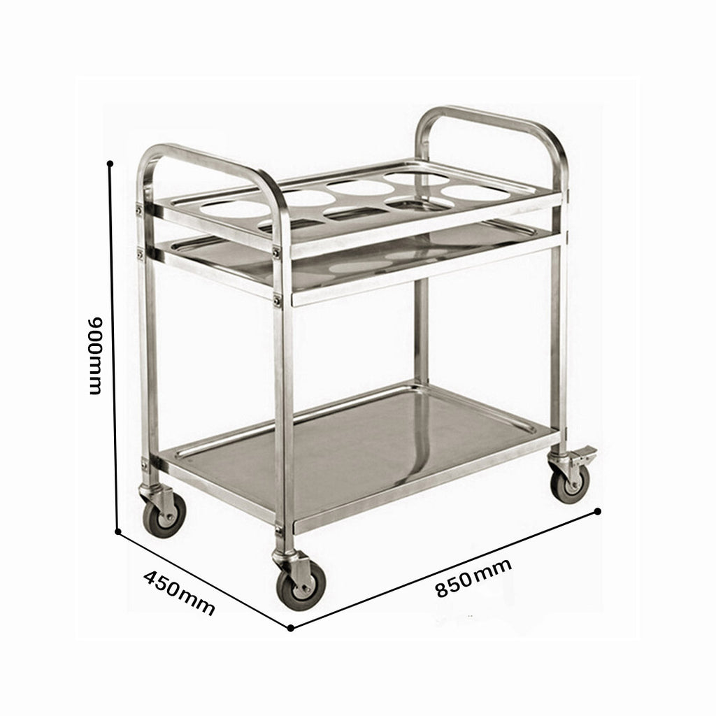 Stainless Steel 8 Compartment Kitchen Trolley - 2 Tier - Notbrand