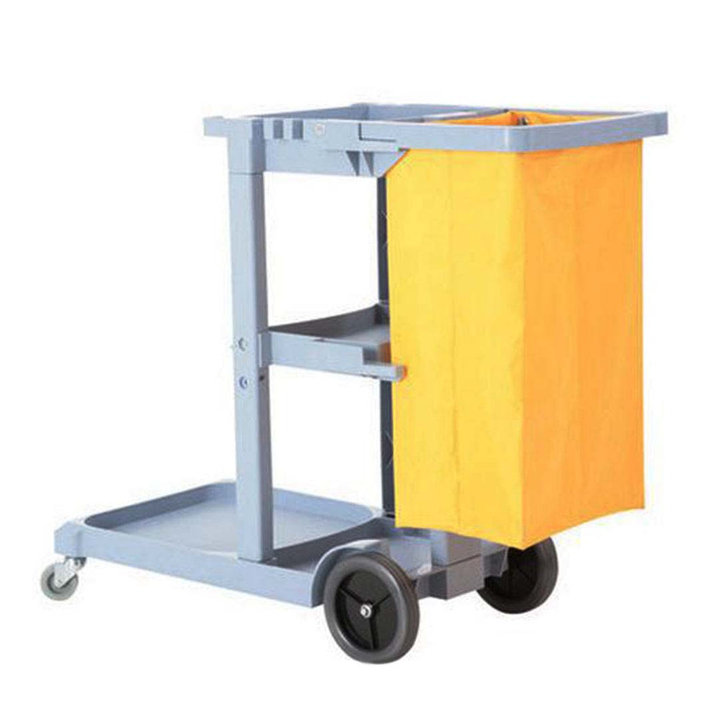 3 Tier Multifunction Janitor Cart & Bag - Yellow