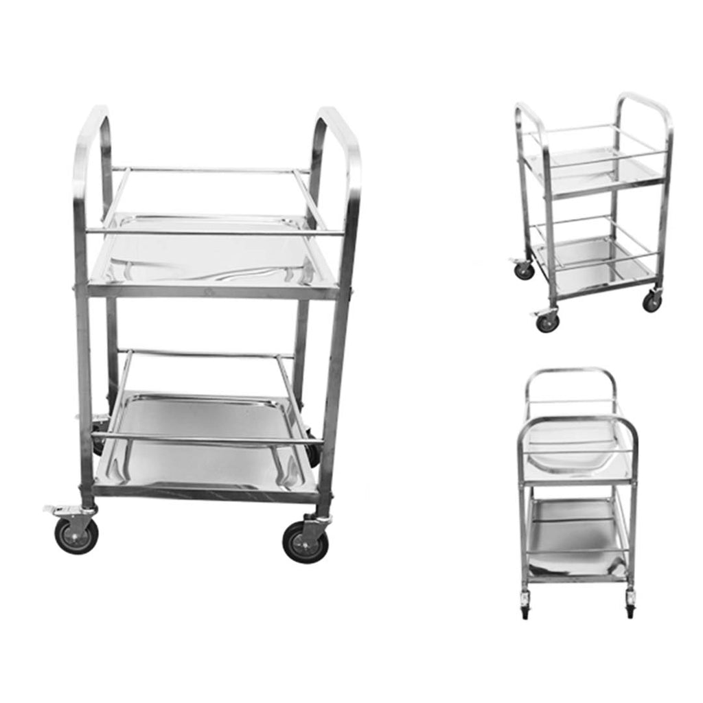 Stainless Steel Square Utility Cart - 2 Tier - Notbrand
