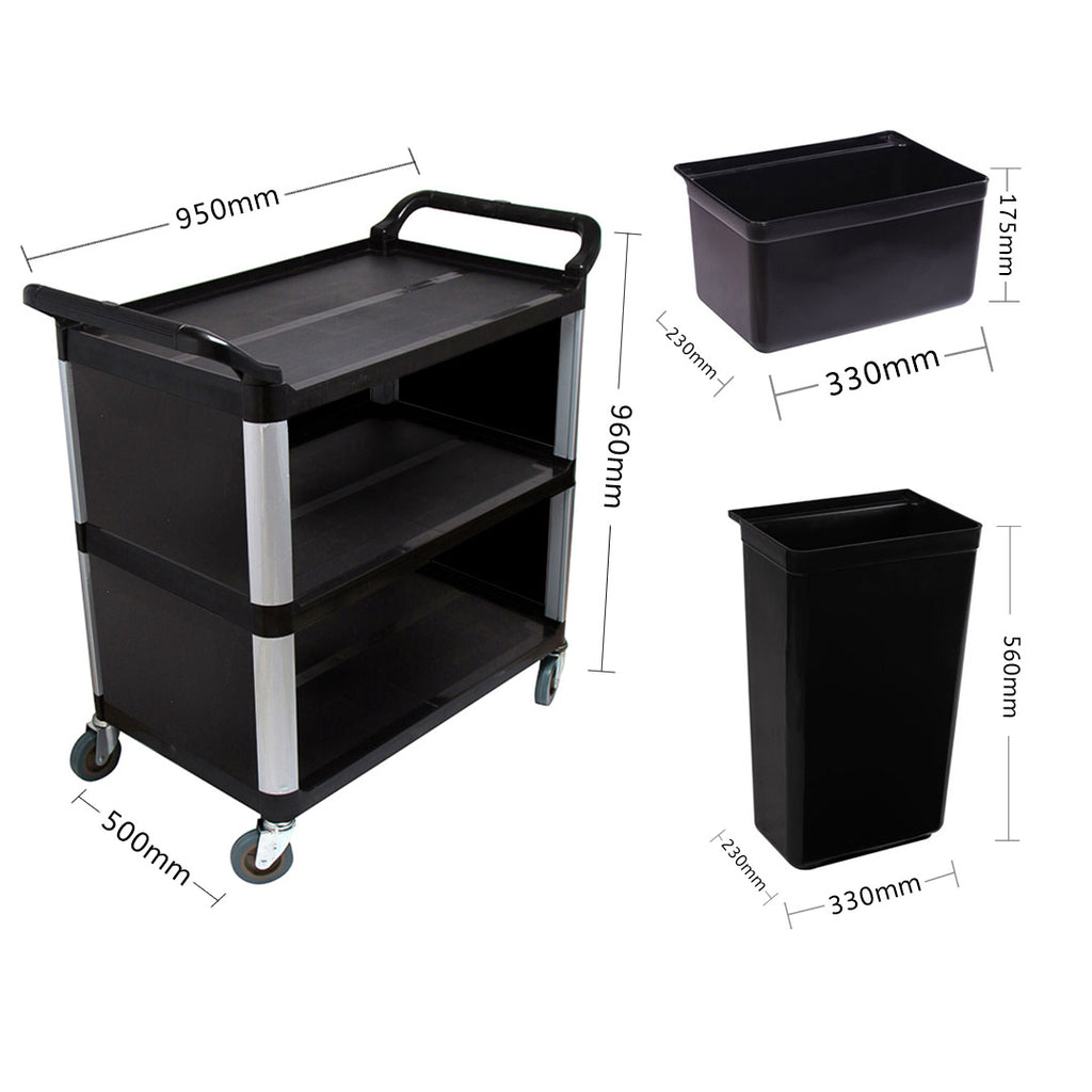 Covered Utility Cart Black With Bins - 3 Tier - Notbrand
