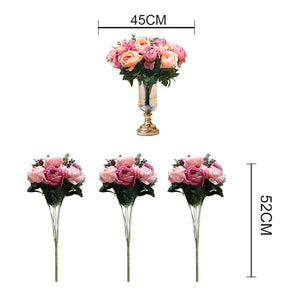 3Pcs Pink Rose Artificial Silk Flowers - 15 Heads - Notbrand