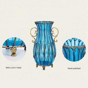 Blue Glass Floor Vase With Metal Stand - 50cm - Notbrand