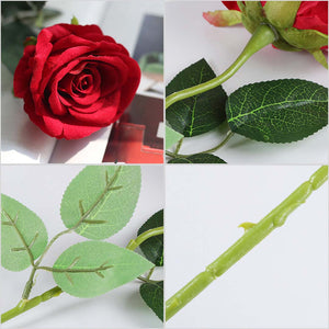 Red Silk Rose Artificial Flowers - 5Pcs - Notbrand