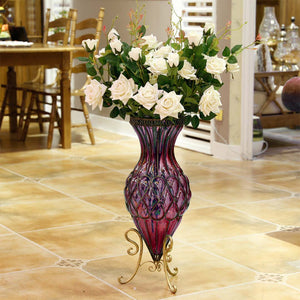 Purple Glass Floor Vase With Metal Stand - 65cm - Notbrand
