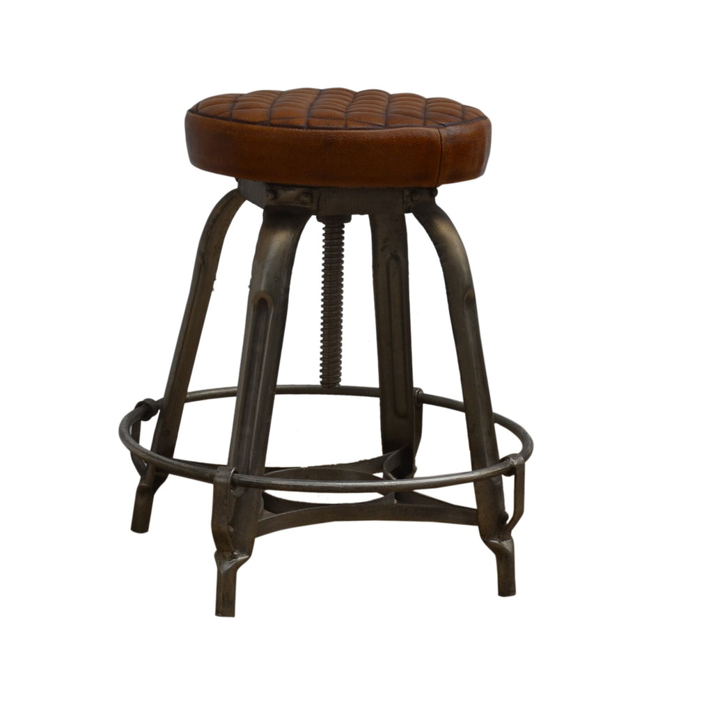 Di Maggio Leather Industrial Bar Stool - Notbrand