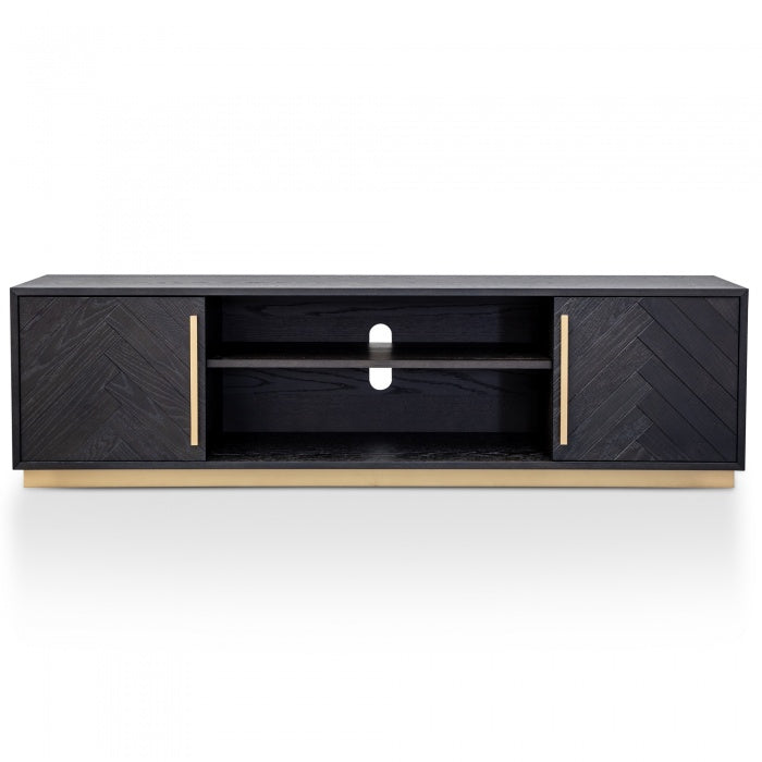 Liam Entertainment TV Unit Black - Brass - Notbrand