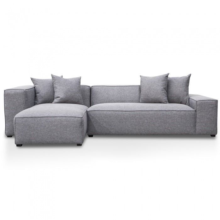 Massimo 2 Seater Left Chaise Sofa - Graphite Grey - Notbrand