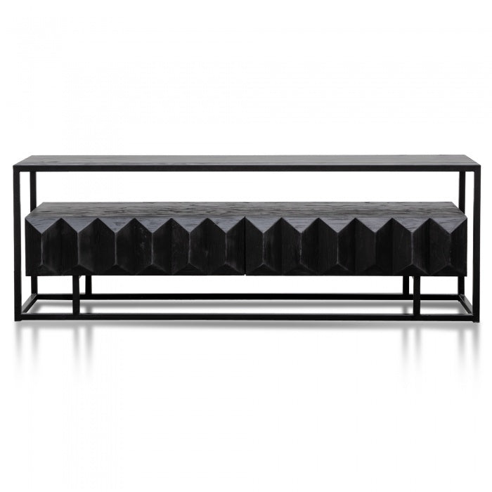 Trudy Pine Wood Entertainment TV Unit - Full Black - Notbrand