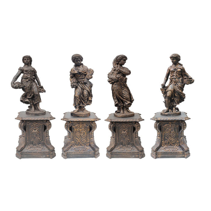 Set of 4 Cast Iron Four Season Statue with Pedestal 1.66m - Notbrand