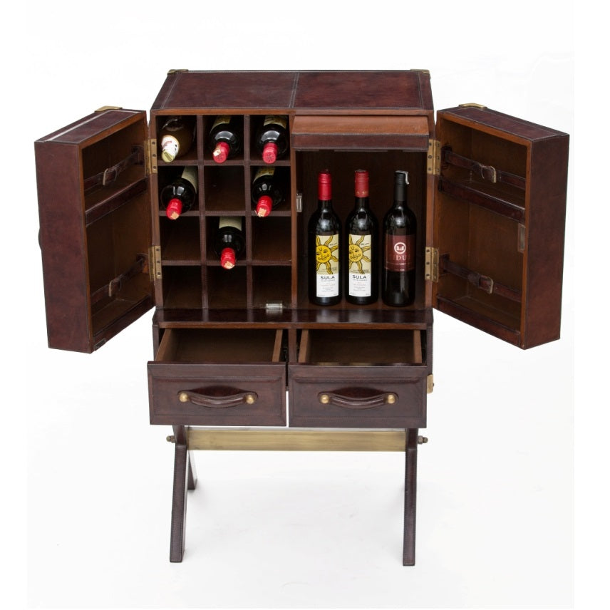 King William Bar Cabinet with Stand Dark Leather - Notbrand