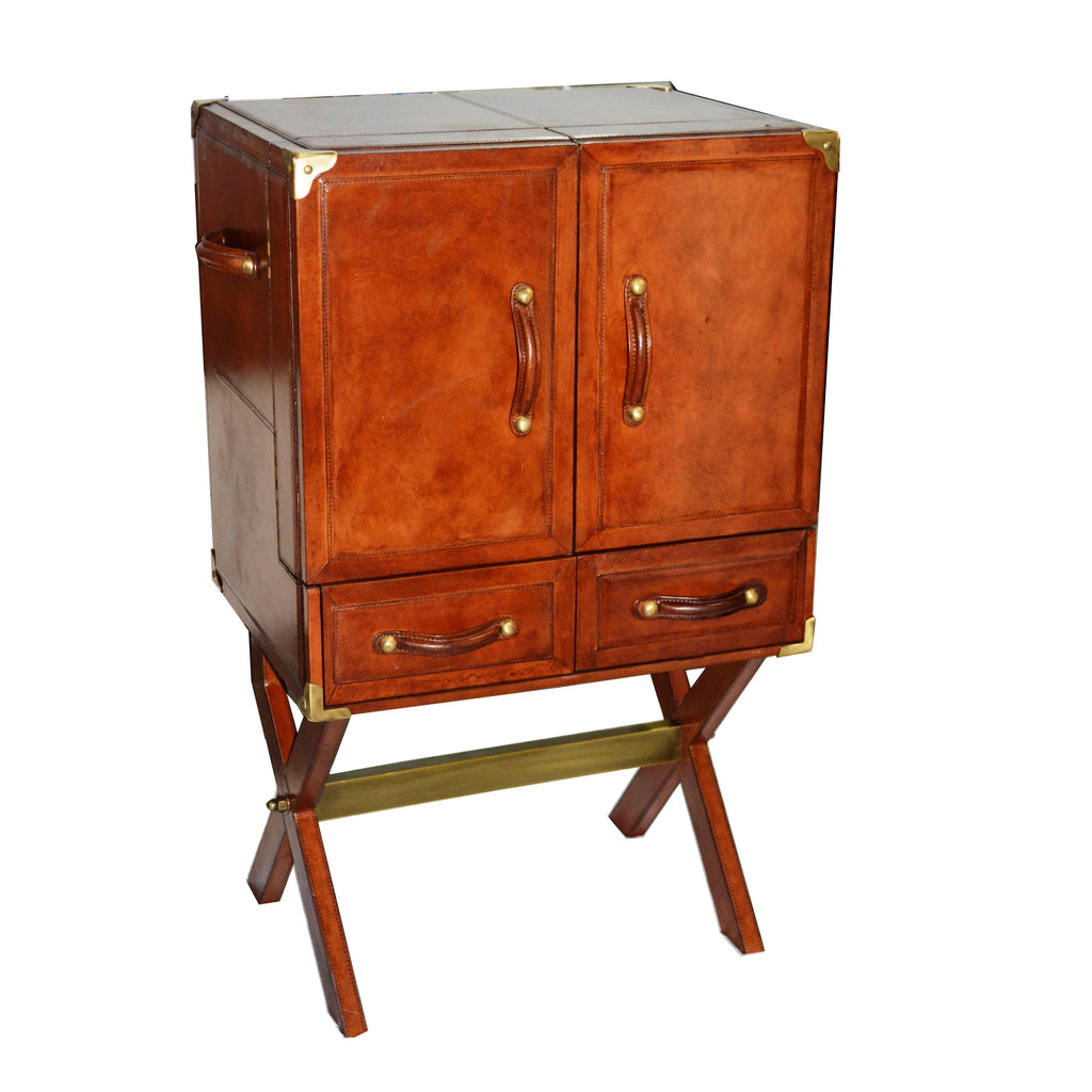 King William Bar Cabinet With Stand Tan Leather - Notbrand