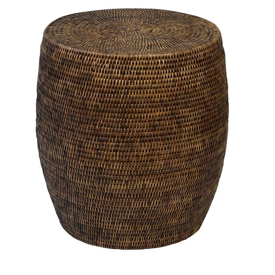 Plantation Rattan Drum Side Table - Notbrand