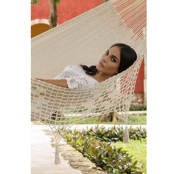 Deluxe Cotton Mexican Hammock Cream Colour Outdoor - Notbrand