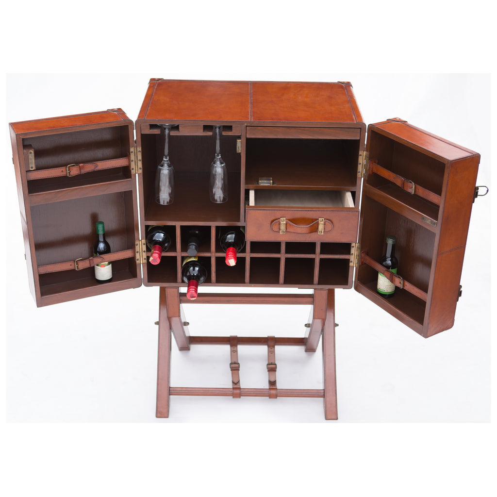 Edgar Bar Cabinet With Stand Tan Leather - Notbrand