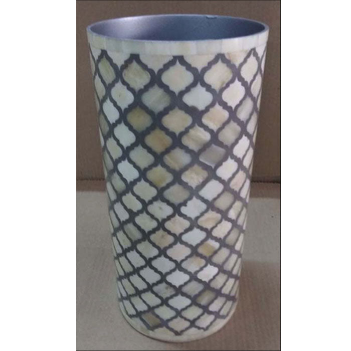 Luiza Bone Inlay Vase Mughal Pattern Medium Grey - Notbrand