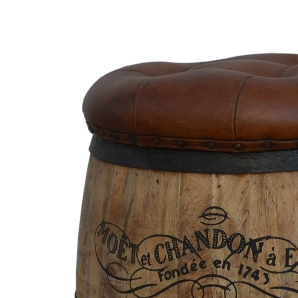 Cylindrical Moet Chandon Leather Ottoman - Notbrand