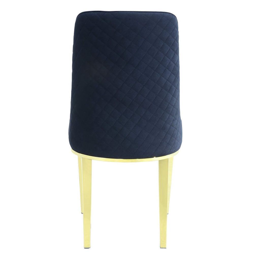 Set of 2 Levante Black Velvet Dining Chair With Gold Frame - Notbrand