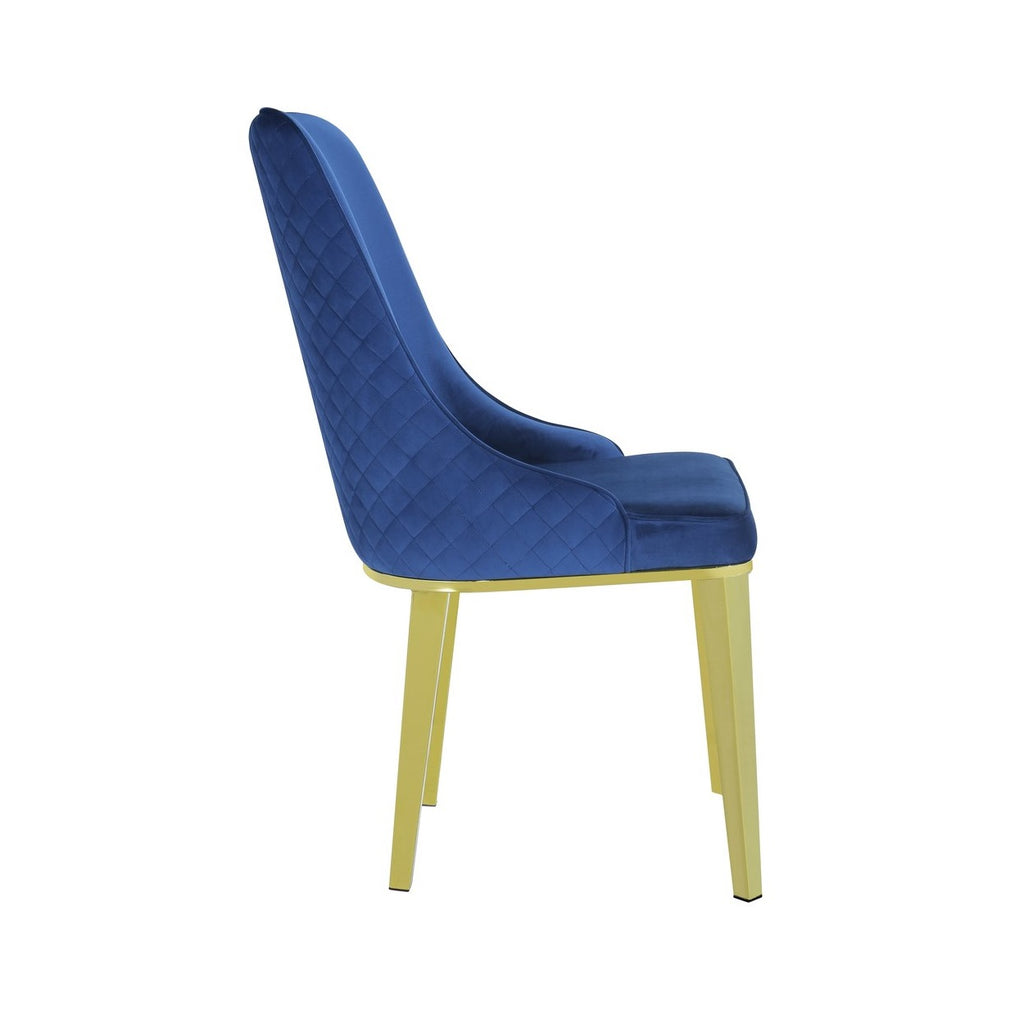Set of 2 Levante Navy Velvet Dining Chair With Gold Frame - Notbrand