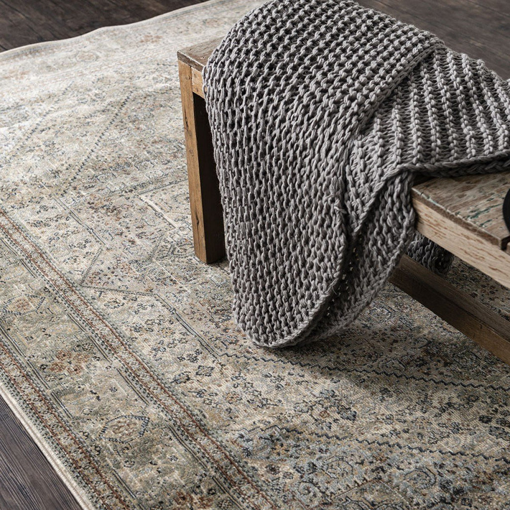 Cavalli Power Loomed Distress Rug - Beige