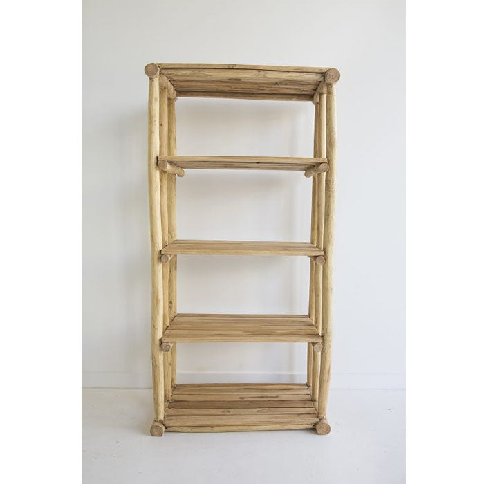 Lombok Teak Wood Five Tier Shelving Storage - Notbrand
