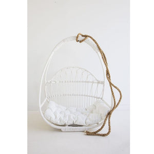 Hapuna Rattan Hanging Chair – White - Notbrand