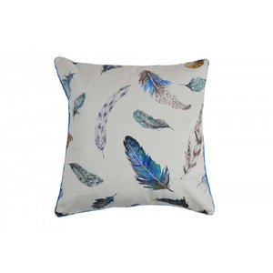 Blue Feathers Cotton Cushion Cover
