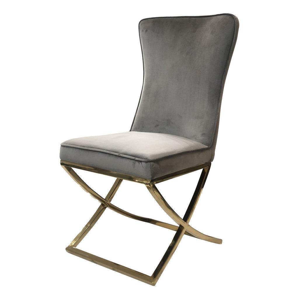 Set of 2 Versailles Grey Velvet Chair - Notbrand