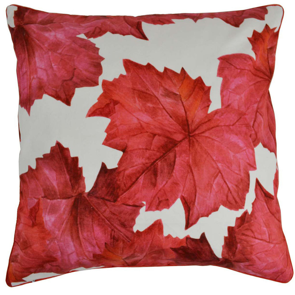 Red Leaves Cotton Cushion Cover - Notbrand