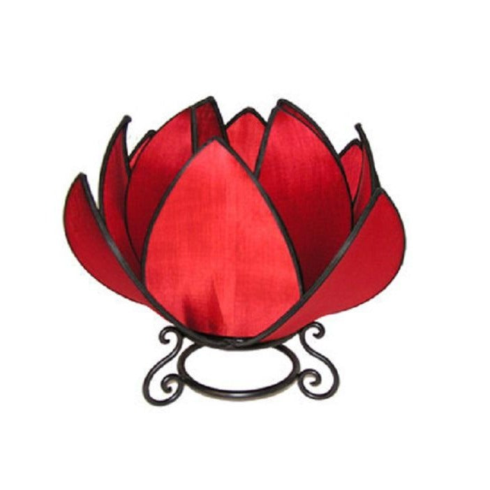 Large Waterlily Table Lamp in Red with Black Trim - Notbrand
