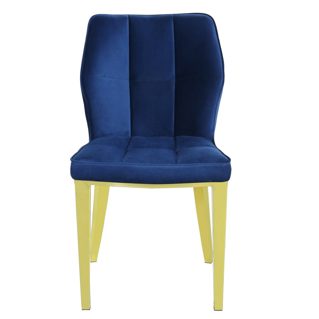 Set Of 2 Ghibli Navy Velvet Dining Chair with Gold Frame