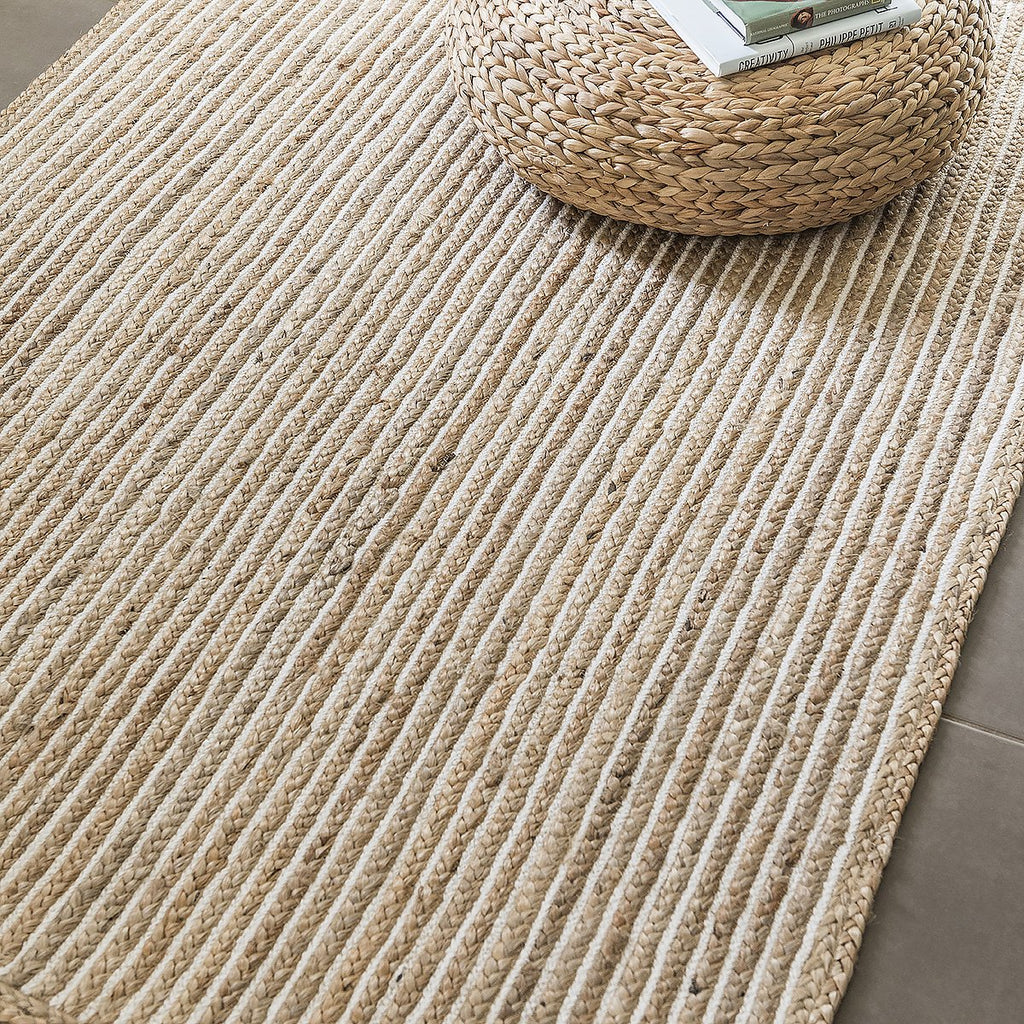 Braided Cotton & Jute Rug with White Lines