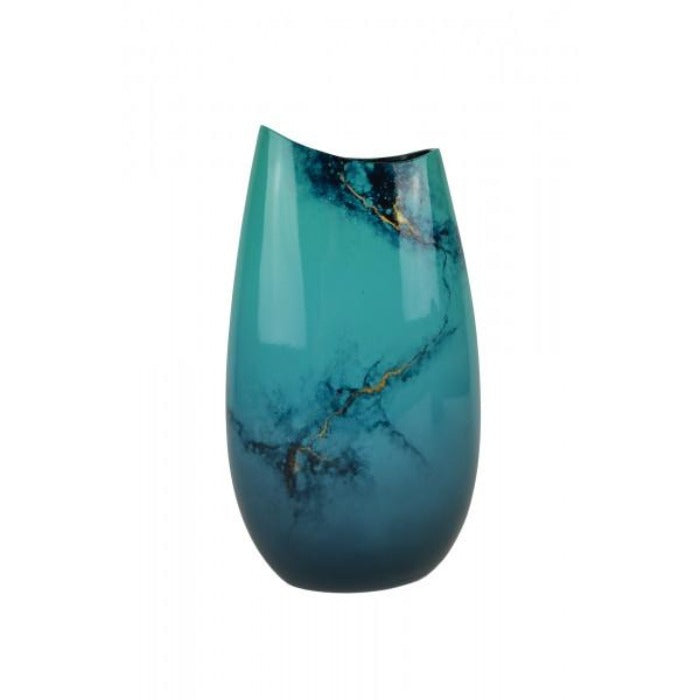 Astrantia Blue Elements Hand Painted Lacquer Flat Vase - Notbrand