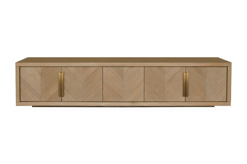 2.23m Entertainment TV Unit - Dusty Oak with Gold Handle - Notbrand
