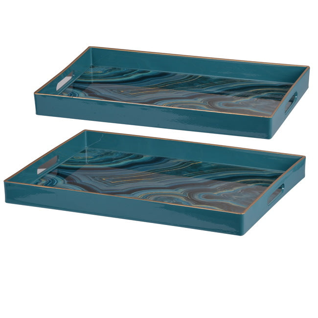Set of 2 Marble Pattern Blue Trays - Notbrand