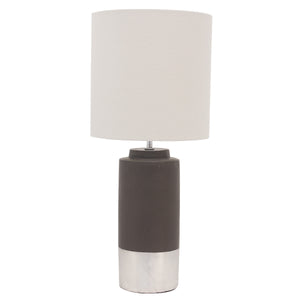 Set of 2 Zane Concrete Table Lamp Silver Trim Drum shade - Notbrand