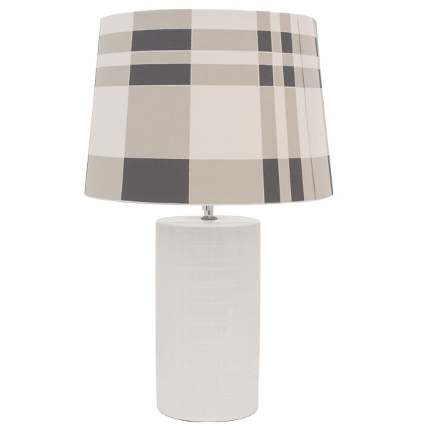 Channing white ceramic Bedside Lamp w/Chequered Shade - Notbrand