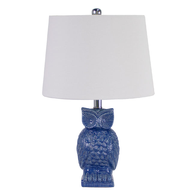 Blue Owl Bedside Lamp mid blue gloss ceramic with shade - Notbrand